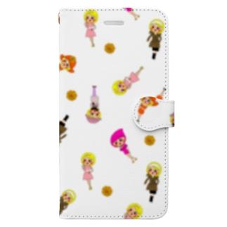 ちょりたん画伯キャラクターズショップのマリーゴールドちゃん 総柄バージョン Book-style smartphone case