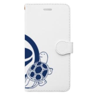 鶴亀(紺 Book-Style Smartphone Case