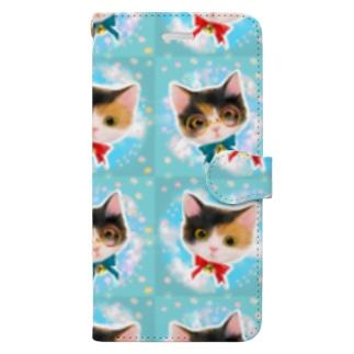 おしゃれなメガネをかけたミケ猫たちの夢かわいいイラスト Book-style smartphone case