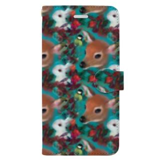 カラフルな植物と小鹿、白うさぎ、シジュウカラのコラージュイラスト Book-style smartphone case