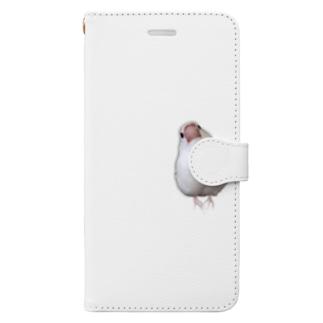 白文鳥のおもちさん Book-style smartphone case