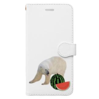 シロクマとスイカ Book-Style Smartphone Case