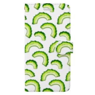 にくらしいゴーヤのパターン Book-style smartphone case