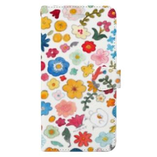 白い花畑 Book style smartphone case