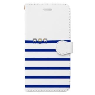 ぶら下がりボーダーにゃ(細ネイビー-上白) Book-Style Smartphone Case