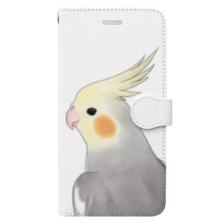 見つめるオカメインコちゃん【まめるりはことり】 Book-style smartphone case