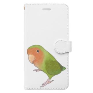 見つめるコザクラインコちゃん【まめるりはことり】 Book-style smartphone case