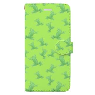 可愛いカエル柄のウォレットケース Book-style smartphone case
