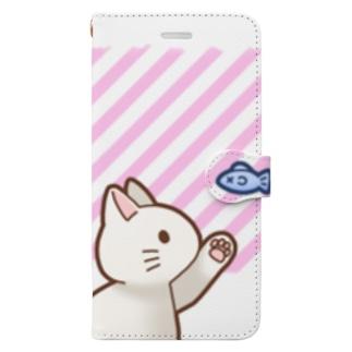 お魚にゃーバージョン2 白猫 ピンクストライプ 上下白ライン Book-Style Smartphone Case