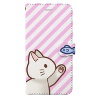 お魚にゃーバージョン2 白猫 ピンクストライプ Book-Style Smartphone Case