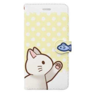 お魚にゃーバージョン2 白猫 イエロー水玉柄 上下白ライン Book-Style Smartphone Case