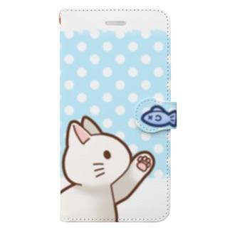 お魚にゃーバージョン2 白猫 ブルー水玉柄 上下白ライン Book-Style Smartphone Case