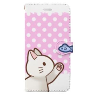 お魚にゃーバージョン2 白猫 ピンク水玉柄 上下白ライン Book-Style Smartphone Case