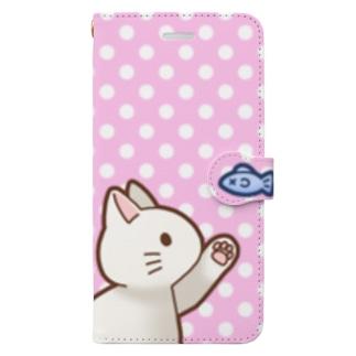 お魚にゃーバージョン2 白猫 ピンク水玉柄 Book-Style Smartphone Case