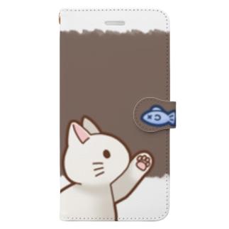 お魚にゃーバージョン2 白猫 ブラウン 上下白ライン Book-Style Smartphone Case