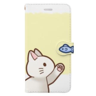 お魚にゃーバージョン2 白猫 イエロー 上下白ライン Book-Style Smartphone Case