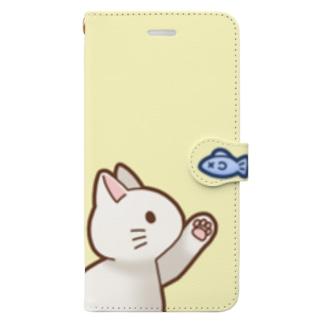 お魚にゃーバージョン2 白猫 イエロー Book-Style Smartphone Case