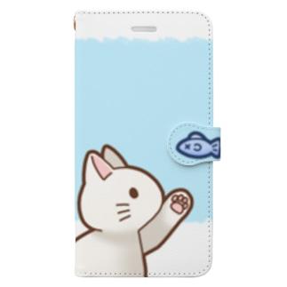 お魚にゃーバージョン2 白猫 ブルー 上下白ライン Book-Style Smartphone Case
