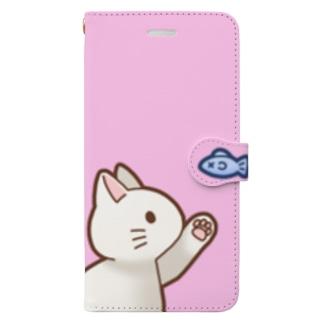 お魚にゃーバージョン2 白猫 ピンク Book-Style Smartphone Case