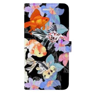 花と金魚たち Book-style smartphone case