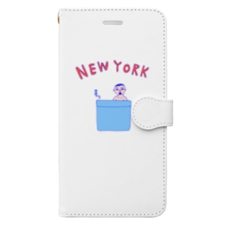 ダジャレデザイン「にゅーよーく」<NEWYORK>*このデザインがドラマあのキスの衣装に使われていた模様、松坂桃李さんがきてるのみたよお Book-style smartphone case