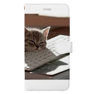 眠る猫 ねこ cat Book-style smartphone case