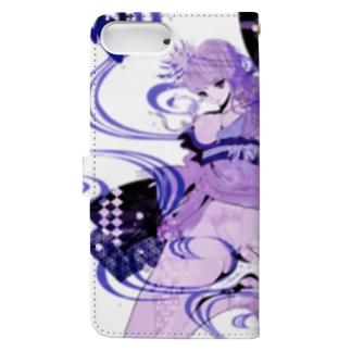 和柄 青の金魚姫3 藤紫 キモノガール Book-style smartphone case