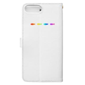 レインボー魚骨魚骨 Book-style smartphone case