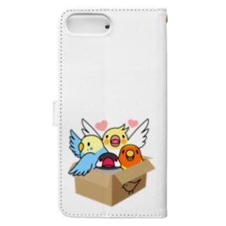 拾ってくださいインコ【まめるりはことり】 Book-style smartphone case