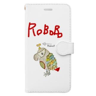 ROBOBO 福ちゃんロボ ロゴ入り③ Book-style smartphone case