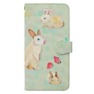 いろんなウサギ Book style smartphone case