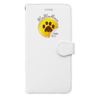 ワンワンレスキュー保護っ子応援・肉球バージョン Book-style smartphone case
