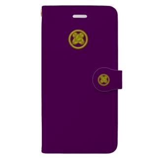 kamon 十大紋-鷹の羽紋 (丸に違い鷹の羽) PU (スマホケース・手帳型) Book-style smartphone case