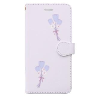 水色チューリップのブーケ Book-style smartphone case