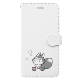 灰色キツネコ(見つける) Book-style smartphone case
