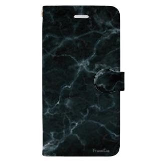 撮影背景になるかも_大理石クラックBブラック Book-style smartphone case