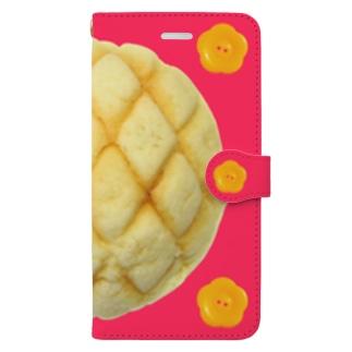 メロンパンと花ボタン Plusサイズ用 Book-style smartphone case