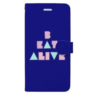 B EAT ALIVE 手帳型けーす(紺) Book-style smartphone case