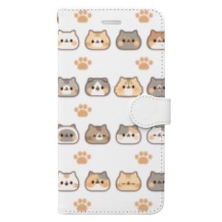 ネコがいっぱい 大量ver. Book-style smartphone case