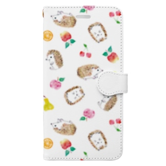 ハリネズミとフルーツ・手帳型 iPhoneケース Book-style smartphone case