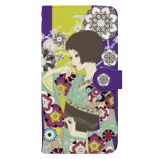 鱗粉館 suzuri別館の花の流れ Book-style smartphone case