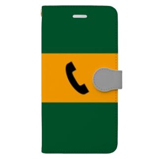 八久人工房。の沿線電話(黒-電話マーク) Book-style smartphone case