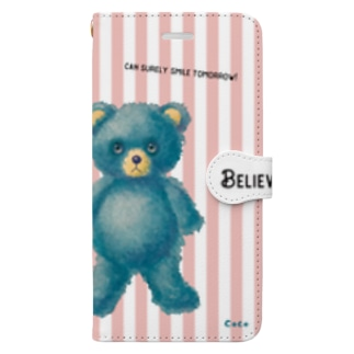 【Believe in yourself.】(青くま) iPhone 6-6sPlus/7-8Plus用 Book-style smartphone case