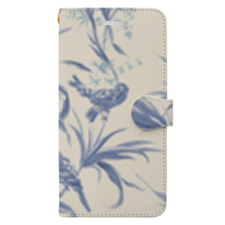 Fukuko55の鳥シリーズ(スモーキーブルー) Book-style smartphone case