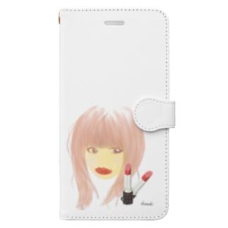 口紅が目立つ女2 Book-style smartphone case