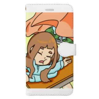 熟睡少女の起床 Book-style smartphone case