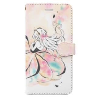 薄花のドレスの水彩イラストスマホカバー Book-style smartphone case