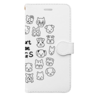 Heart nose DOGS(丸型) Book-style smartphone case