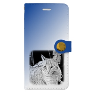 .JUICY-SHOP. | JOYFULのJOYFUL | Requesting Cat | 瑠璃色 Book-style smartphone case