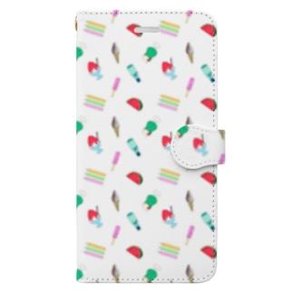 懐かしの夏菓子柄 Book-style smartphone case